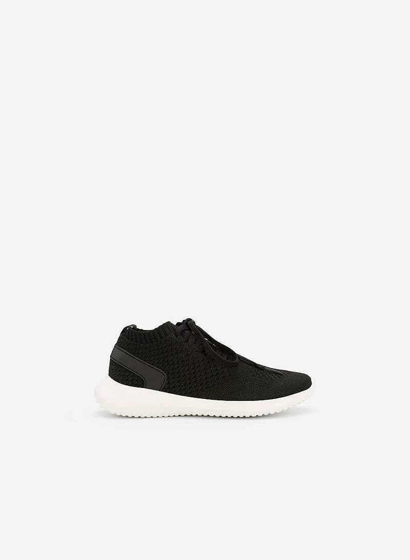 Giày Sneaker Vải Knit Cổ Co Giãn - SNK 0022 - Màu Đen - vascara.com