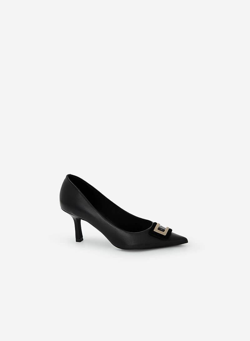 Giày Bít Mũi Nhọn Đính Khóa Layer - BMN 0452 - Màu Đen - vascara.com