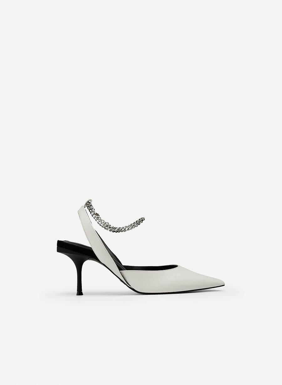 Giày Ankle Strap Mũi Nhọn Quai Kim Loại - BMN 0495 - Màu Trắng - vascara.com