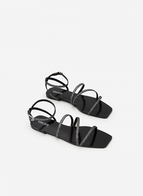 Giày Sandal Ankle Đế Bệt Mũi Vuông Vân Da Kỳ Đà - SDK 0317 - Màu Cầu Vồng - vascara.com