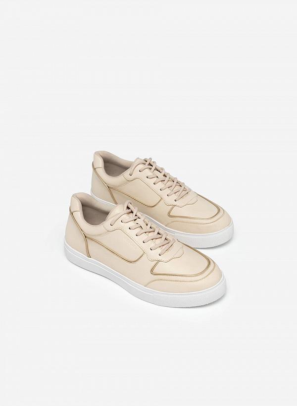 Giày Sneaker Viền Chỉ Nổi Thời Trang - SNK 0042 - Màu Be - VASCARA