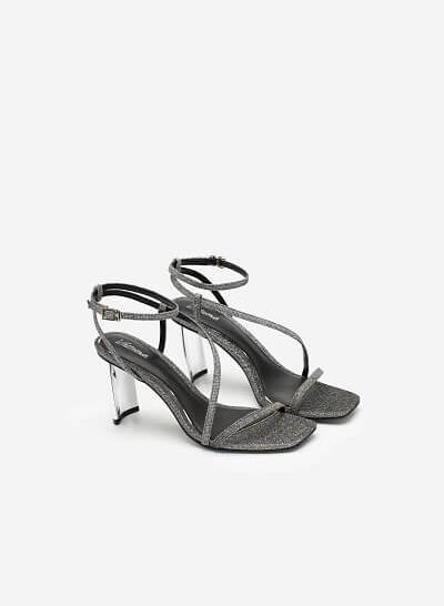 Giày Sandal Quai Mảnh Phối Kim Tuyến Metallic - SDN 0689 - Màu Bạc - VASCARA