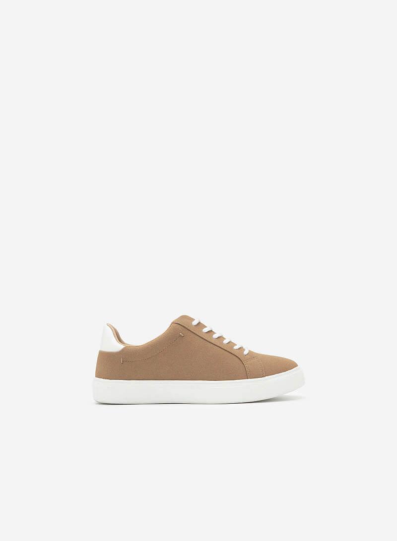 Giày Sneaker Da Nubuck - SNK 0039 - Màu Be Đậm