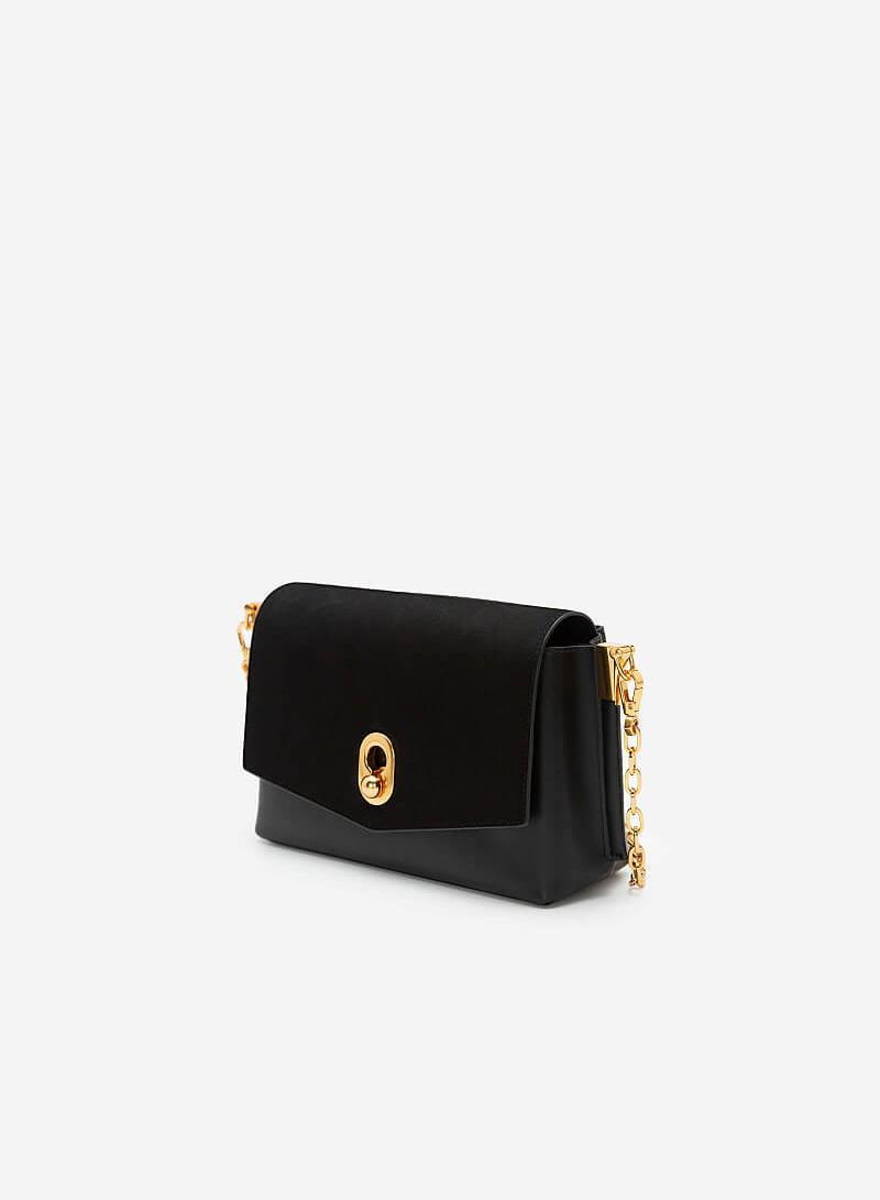 Túi Đeo Chéo Nắp Gập Nubuck Golden Pearl - SHO 0181 - Màu Đen - vascara.com