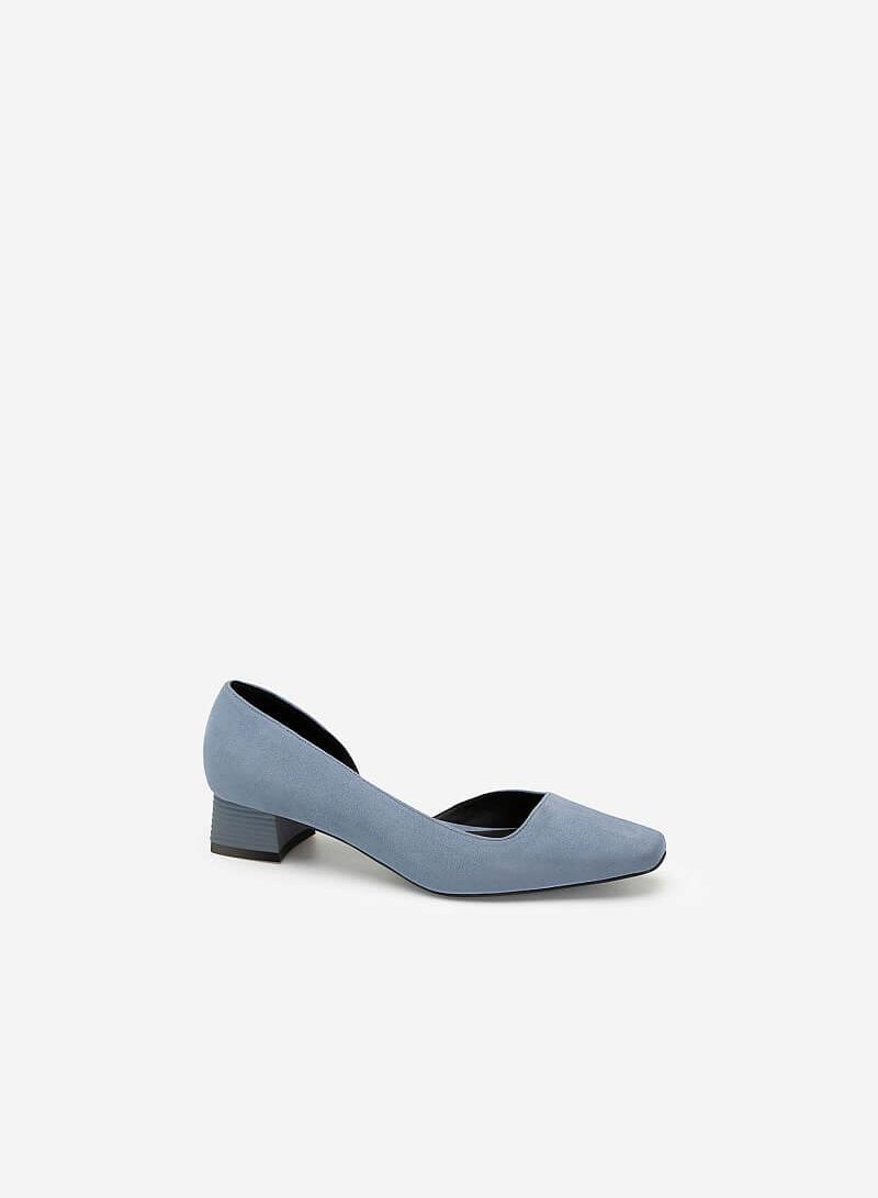 Giày Bít Mũi Cut - Out Da Nubuck Gót Trụ Cách Điệu - BMN 0484 - Màu Xanh Da Trời - vascara.com