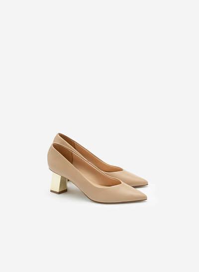 Giày Bít Mũi Nhọn Gót Đa Giác Metallic - BMN 0478 - Màu Be - VASCARA