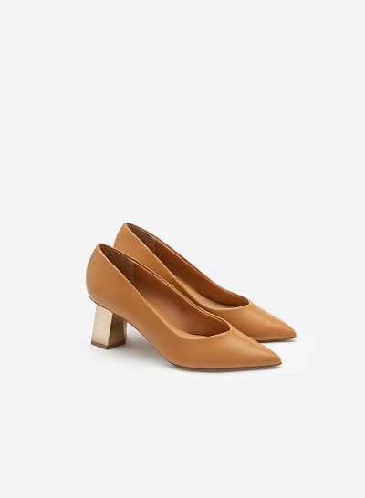 Giày Bít Mũi Nhọn Gót Đa Giác Metallic - BMN 0478 - Màu Nâu Sáng - VASCARA