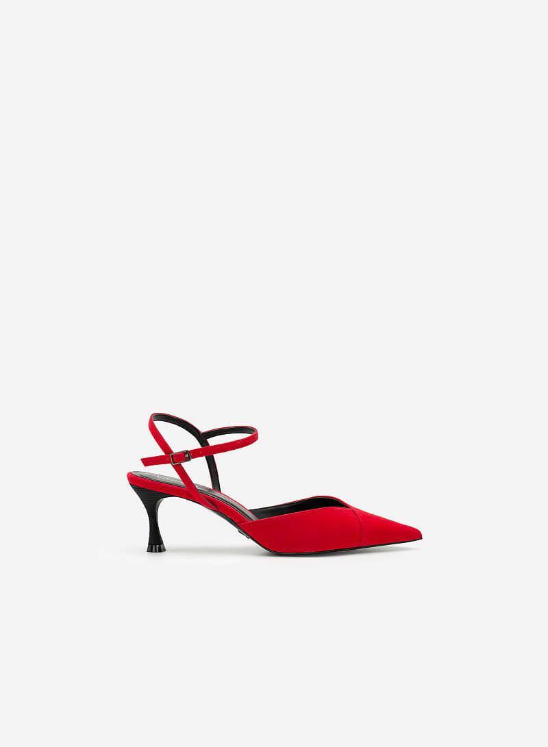 Giày Bít Mũi Nhọn Da Nubuck - BMN 0483 - Màu Đỏ - vascara.com