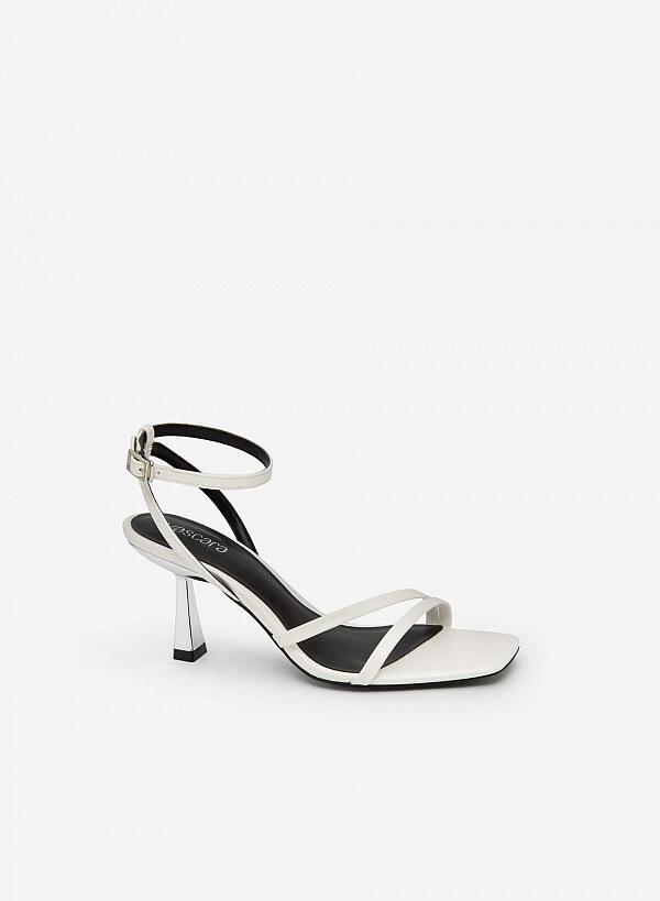 Giày Sandal Ankle Strap Gót Trụ Metallic - SDN 0694 - Màu Trắng - VASCARA