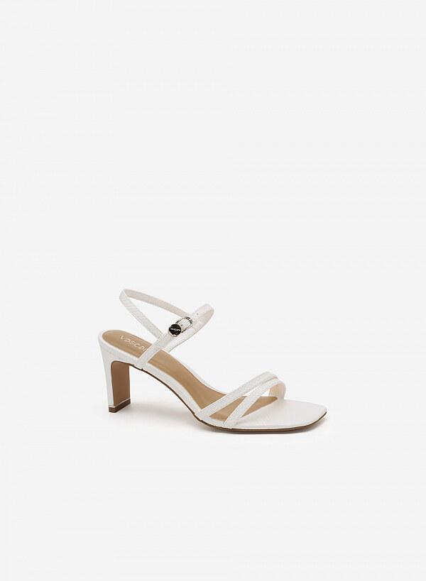 Giày Sandal Họa Tiết Vân Rắn - SDN 0632 - Màu Trắng - VASCARA