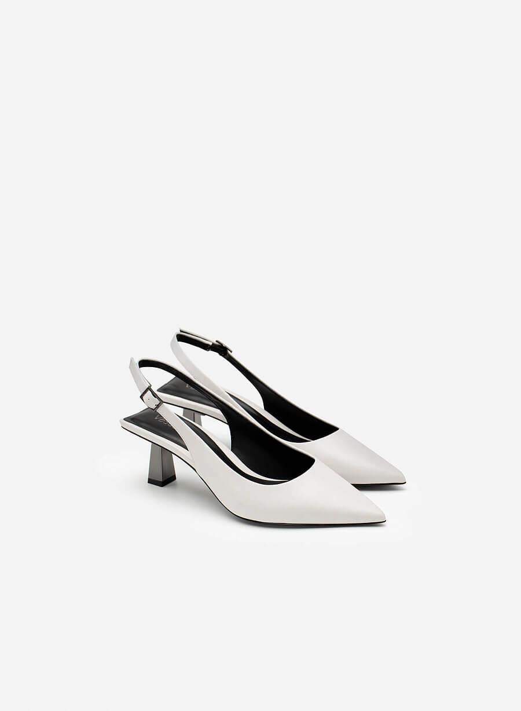 Giày Slingback Mũi Nhọn Gót Trụ Metallic - BMN 0480 - Màu Trắng - vascara.com