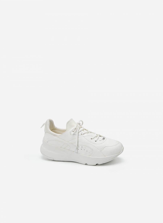 Giày Sneaker Viền Chỉ Nối Cổ Co Giãn - SNK 0036 - Màu Trắng