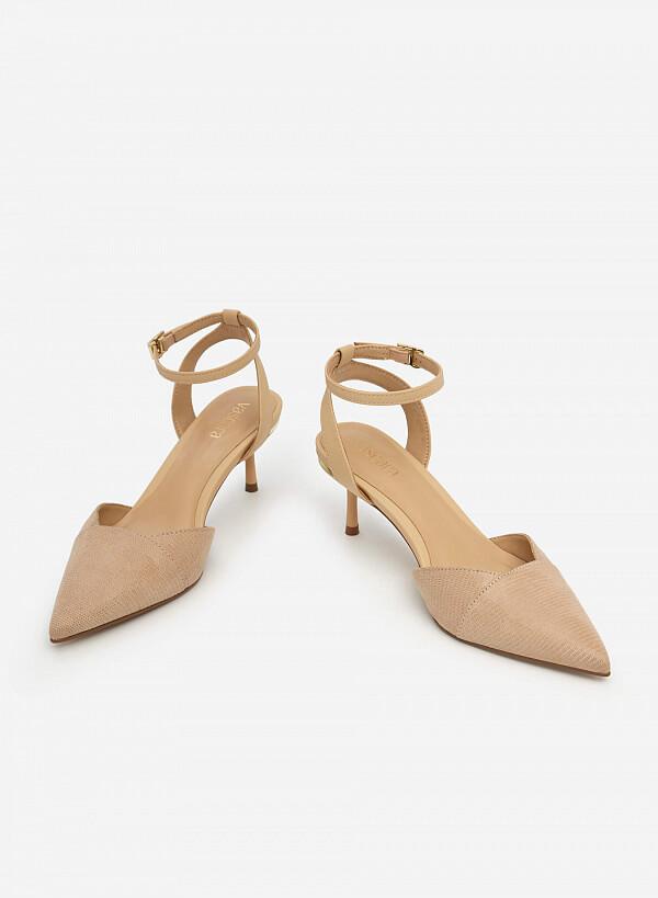 Giày Ankle Strap Vân Da Kỳ Đà - BMN 0489 - Màu Be - VASCARA