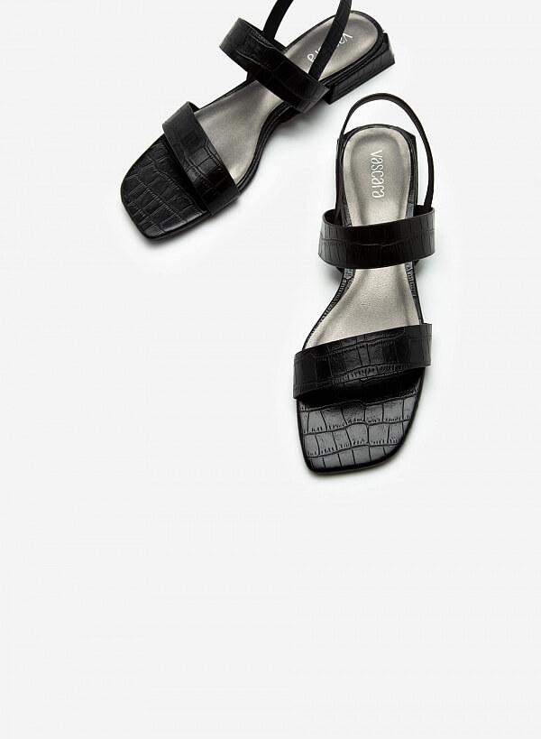 Giày Sandal Quai Ngang Vân Cá Sấu - SDK 0315 - Màu Đen - VASCARA
