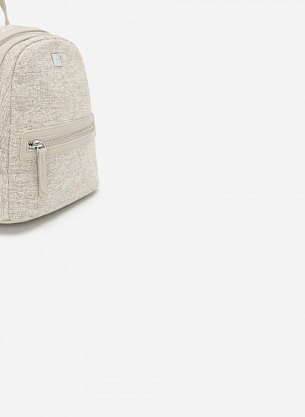 Balo Mini Phối Vải Canvas - BAC 0128 - Màu Xám - VASCARA
