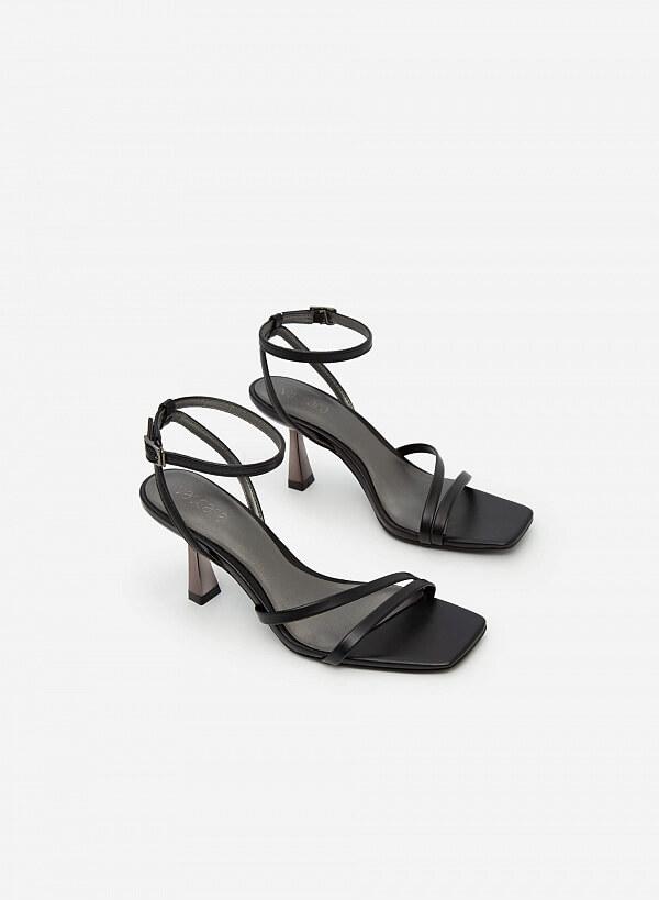 Giày Sandal Ankle Strap Gót Trụ Metallic - SDN 0694 - Màu Đen - VASCARA