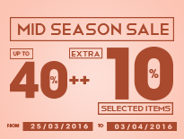 Mid Season Sale - Up to 40%++  All Items - Extra 10% Selected Items