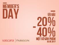 MEMBER'S DAY – TTTM PARKSON – ƯU ĐÃI ĐẾN 40% MỘT SỐ SẢN PHẨM - vascara.com