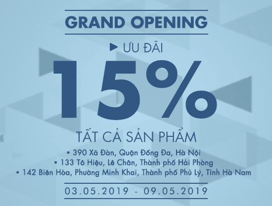 Grand Opening Vascara Hà Nội, Hải Phòng, Hà Nam - Ưu đãi 15% tất cả sản phẩm