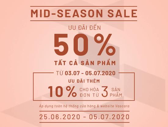 Mid Season Sale – Ưu đãi đến 50% tất cả sản phẩm + Áp dụng thẻ VIP