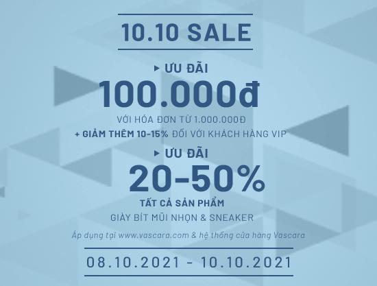 10.10 Sale - Giảm ngay 100K + Ưu đãi 20% - 50% tất cả sneaker & giày bít