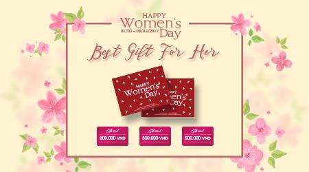 Thẻ quà tặng phụ nữ nhân ngày 8 tháng 3 mua sắm online thời trang nữ